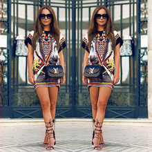 2015 summer new fashion women sexy printed dress vintage o-neck short sleeve dress loose straight dress plus size(China (Mainland))