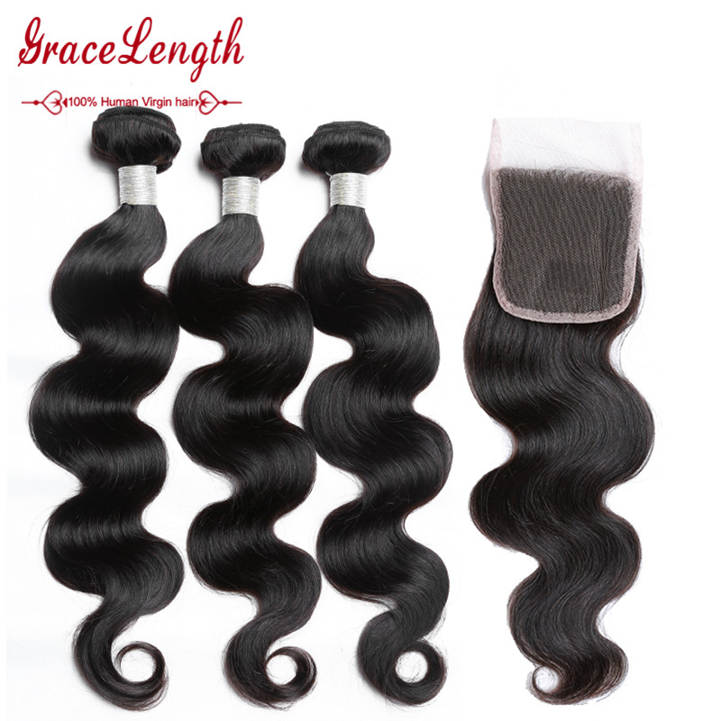 Peruvian Virgin Hair Body Wave With Closure 3 Bundles With  Lace Closure Peruvian Body Wave With Closure Human Hair With Closure<br><br>Aliexpress