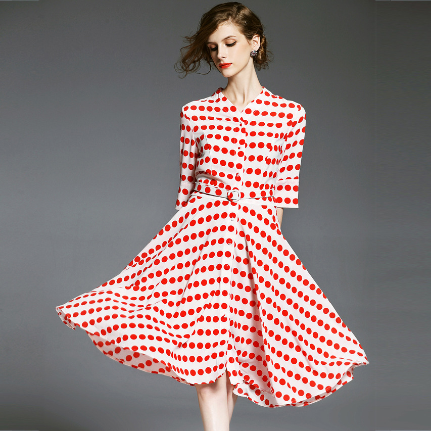 H0955 Early Autumn Red Wave Sleeves To Collect Waist With A Belt Of Dress(China (Mainland))