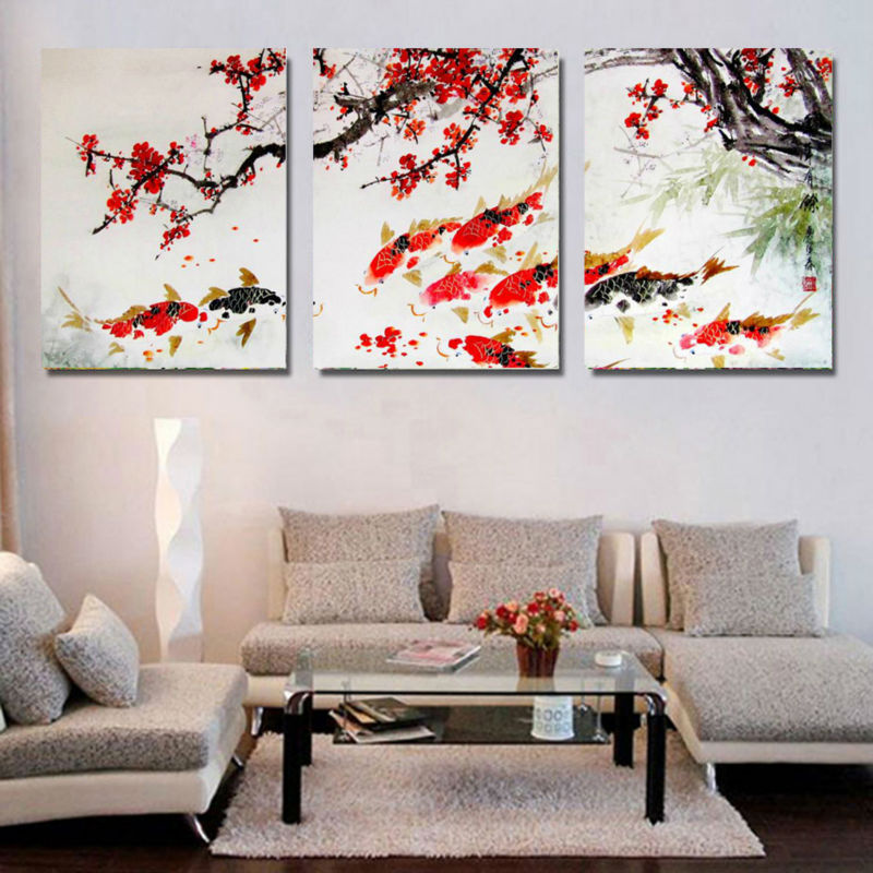 3 Piece Free Shipping Modern Wall Painting Cherry Blossom Koi Fish Home Decorative Art Picture Paint on Canvas Prints GA1229