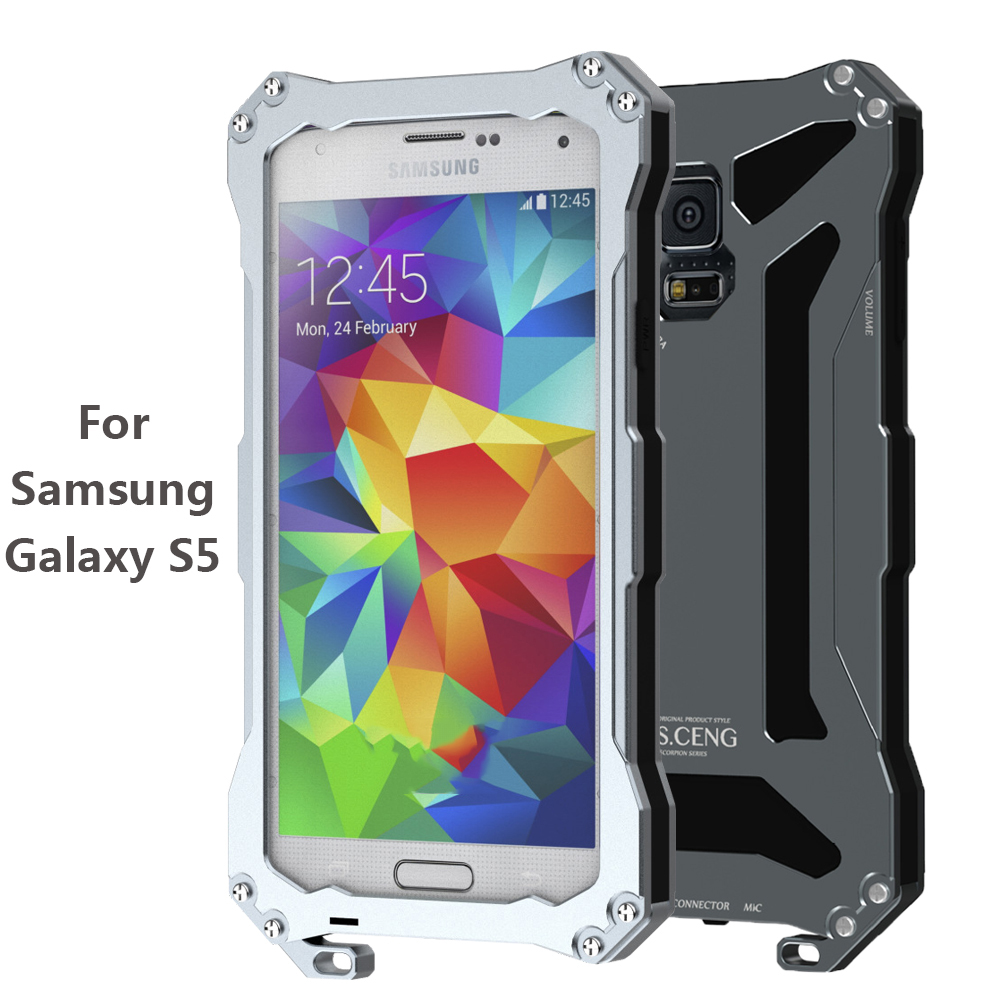 High Quality Alloy Aluminum Metal Phone Case Cover with Silicon for Samsung Galaxy S5 IP56 Waterproof Shockproof Dustproof(China (Mainland))