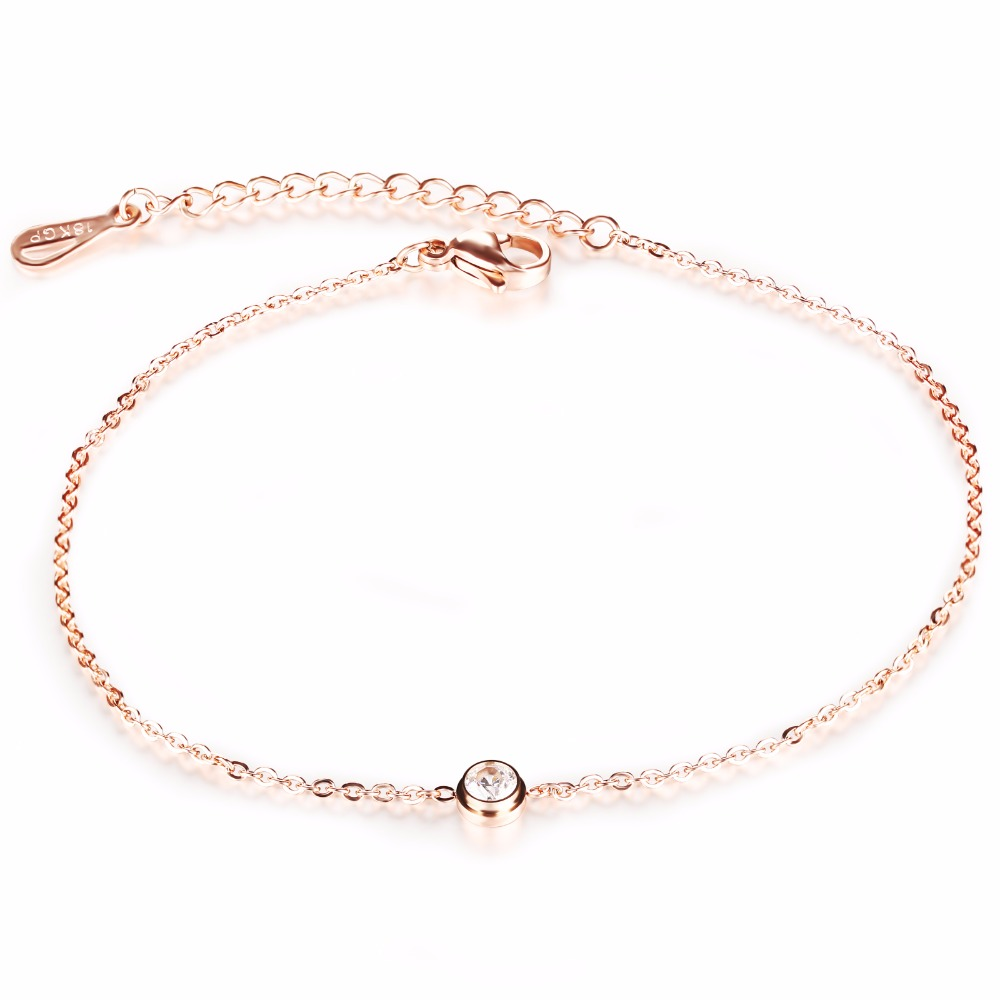 Anklet Foot Jewelry Rose Gold Plated Anklet Bracelet Leg Chain Stainless Steel Anklets Women Foot Jewelry Wholesale GZ013(China (Mainland))