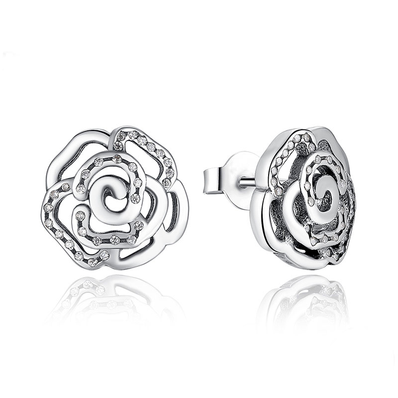 925 Sterling Silver Rose Petals Flower Stud with Clear Earrings studs Women Pardy & Weedding Ear Studs fit Pandora Jewelry ER03(China (Mainland))