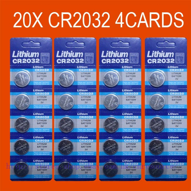 20 X CR2032 BR2032 2032 3V LITHIUM battery track number shipping cost(China (Mainland))