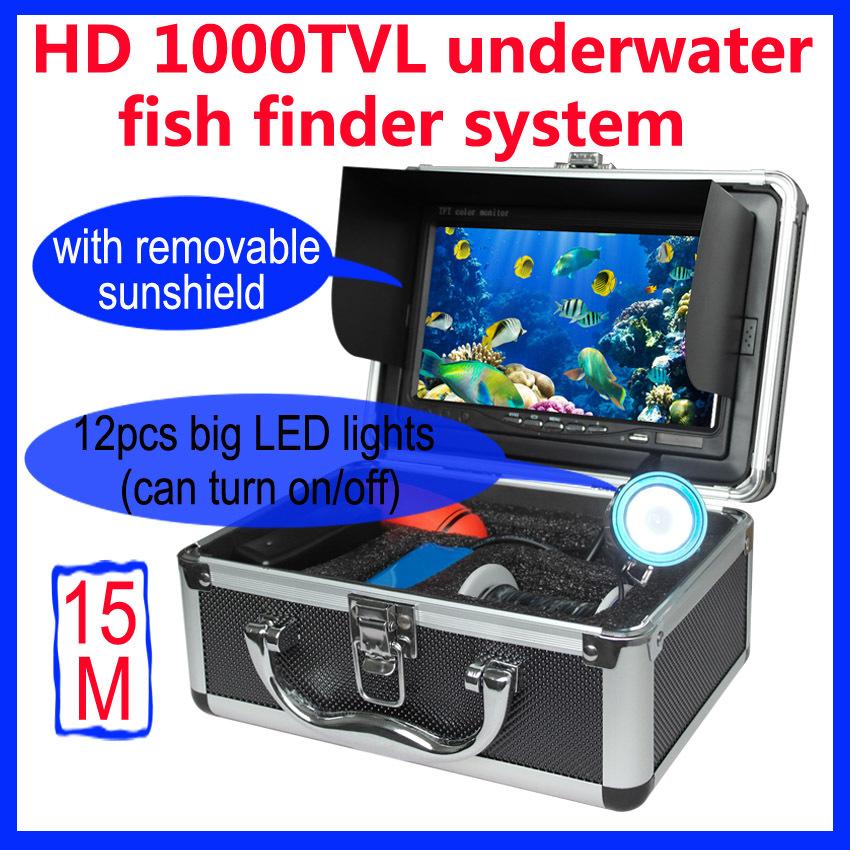 "7"" TFT LCD Fishing Camera Kit Fish Finder HD 800TVL Underwater Video Camera System With 12Pcs Light Night Vision Sun shade(China (Mainland))"