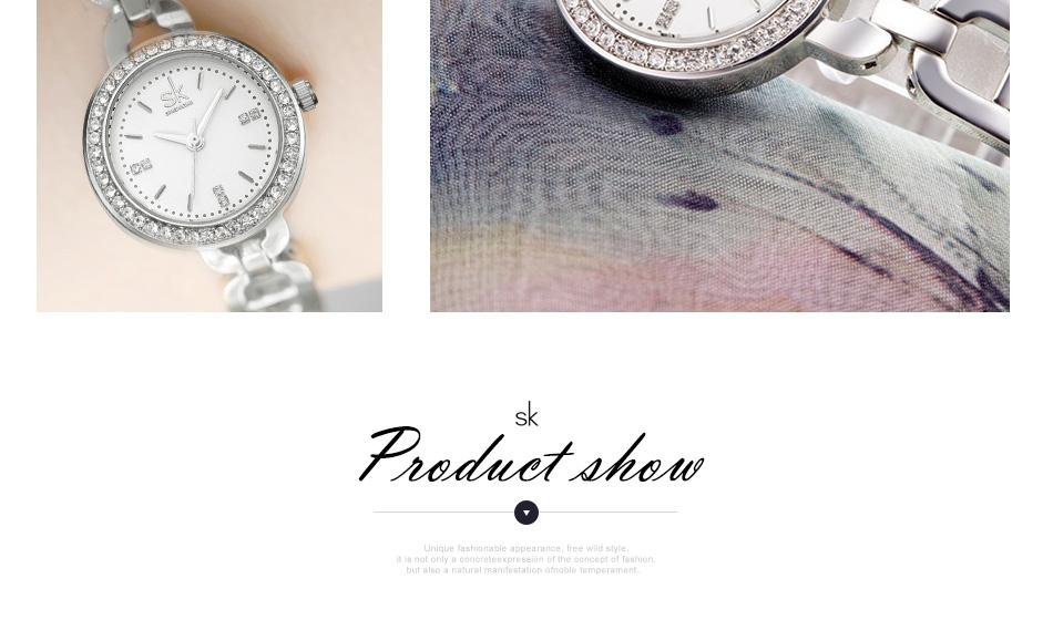 SK Ladies Watches Gold Watch Women Dress Top Brand Women's Fashion Stainless Steel Bracelet Quartz Watch Relogio Feminino 2017