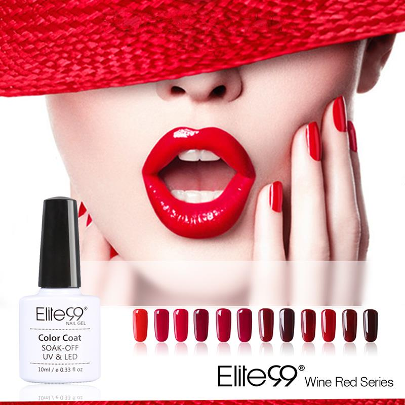 Elite99 10ml 12 Colors Wine Red Series 12 Colors Pick 1 UV Gel Nail Varnish Nail Gel Polish Gel LED UV Nail Art Manicure(China (Mainland))