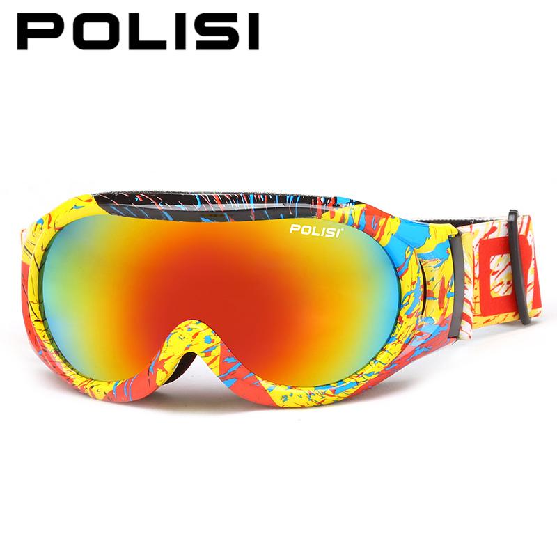 POLISI Winter Children Ski Goggles Girls Boys Kids UV400 Snowboard Eyewear Double Layer Lens Anti-Fog Skateboard Skiing Glasses