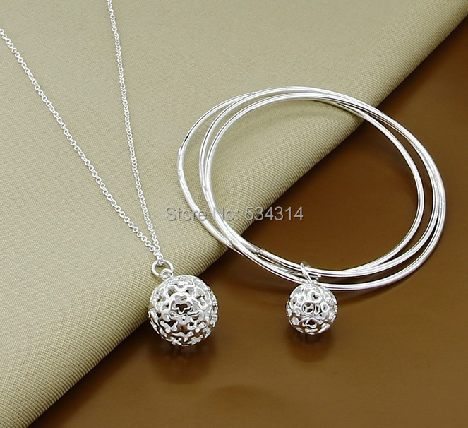 T219 Low prcie 925 Silver sets 2014 Necklace Bangle Jewelry Set Wedding - Magical Girl store