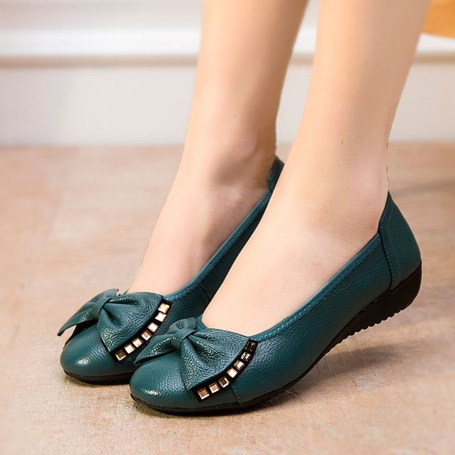 Большой размер ( 34 - 43 ) мода весна женщины обувь из натуральной кожи на плоской ...