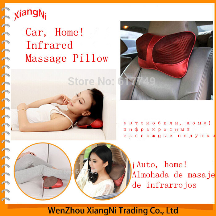 Hot 2015!! Infrared Heating Double Beauty Body Device Neck Massage Pillow Car Massager Cushion Seat Covers Headrest Care Belts(China (Mainland))