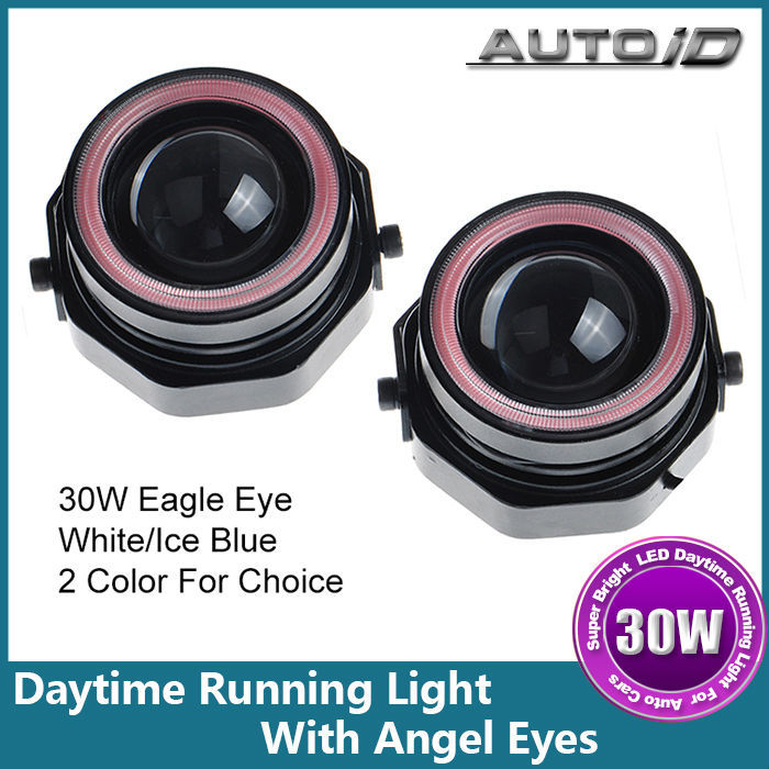 New One Set 1000lm 30W Car LED Daytime Running Light Headlight With White+Red Angel Eyes(China (Mainland))
