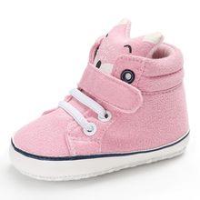 Bebé otoño zapatos chico niña zorro cabeza encaje algodón tela primer andador antideslizante suela suave zapatilla para niños 1 par(China)