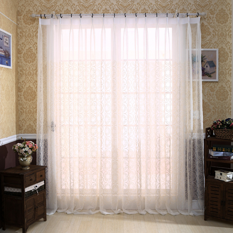 Luxury Embroidered Sheer Curtains Modern Bedroom Decorations White Living Room Curtaintulle