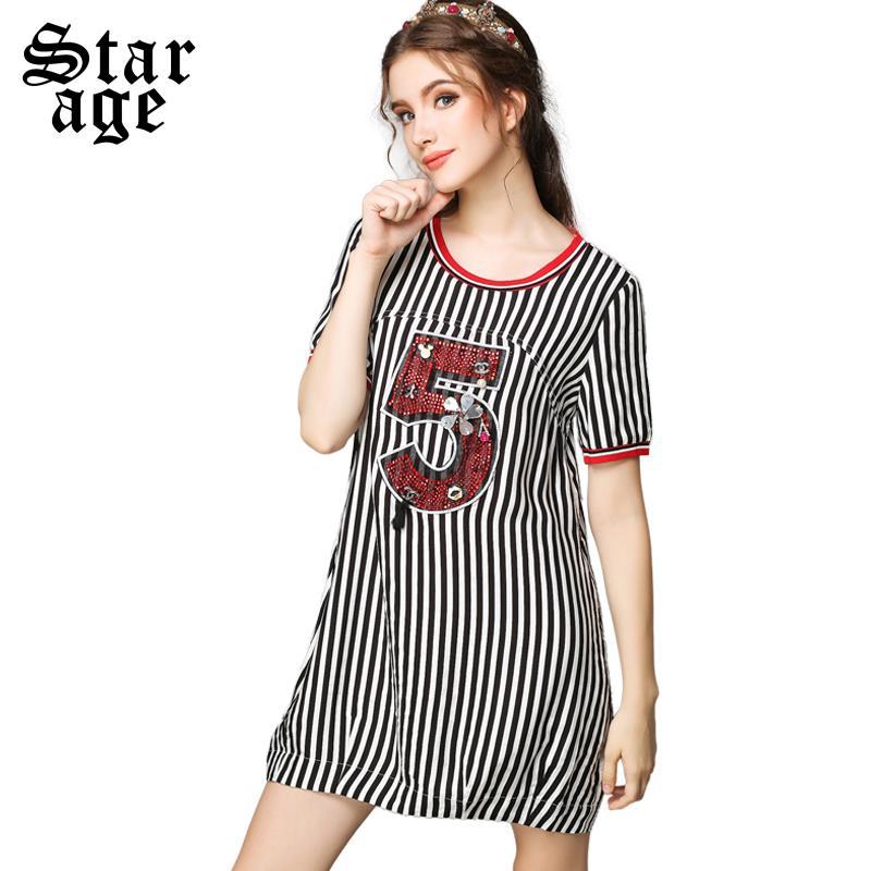 S-5XL Plus Size Women Black White Stripe Loose Dress Summer Lady Big Size Diamond Beaded Letter Short Sleeve Casual Dresses F815(China (Mainland))