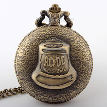 Antique Pocket Watch Necklace Steampunk Hells Bell Pattern Quartz Watches Bronze Retro Chain jewelry Watches men women