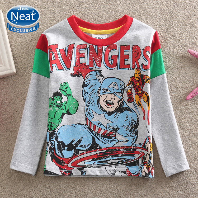 NEAT new spring 2014 baby&kids brave soldier captain America boy round neck tutu long sleeve cotton T-shirt A5206 - Neat Kids Factory Shop store