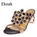 Ekoak Size 35 41 New 2016 Summer Fashion Women Big Rhinestone Cut outs High Heel Sandals