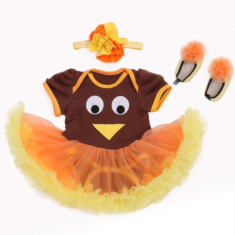 Trendy Infant Baby Girls Thanksgiving Turkey Tutu Romper Party Dress Brown Bodysuit Birthday Orange Yellow Skirt Newborns to 24M(China (Mainland))