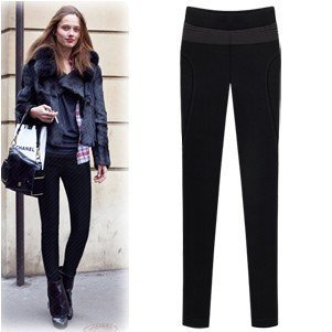 Chic Women Skinny Pants Stretchable Slim Women Pants Brand Casual Pants Warm Napped Leggings Black Capris High Street Trousers