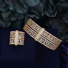GODKI יוקרה גדול עדין יוקרה צבעים מעוקב Zirconia מסיבת חתונה ערב ערבית דובאי צמיד טבעת סט(China)