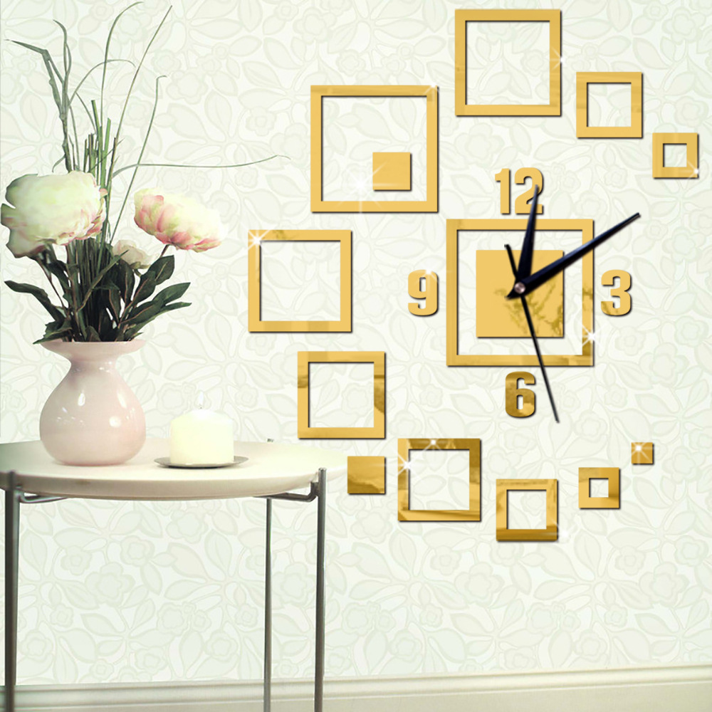 creative fun clock mirro style square wall clock diy. Black Bedroom Furniture Sets. Home Design Ideas