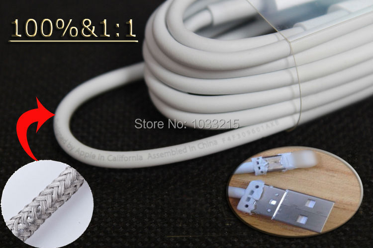 1000pcs 1:1 Genuine Cable for iPhone6 iphone 5 5s iOS 8.3 Original Words Cables cords Metal Shield wires Wholesale DHL Free ship(China (Mainland))