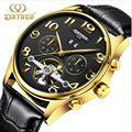 KINYUED Classic Day Date Calendar Tourbillon Automatic Brown Leather Strap Analog Men Mechanical Watch Montre Homme