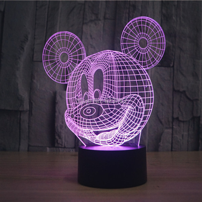 7 Color Changing Flashing Mickey Mouse Acrylic 3D LED Night Light USB 3D Christmas LED Decorative Table Lamp Baby Mood Lamp(China (Mainland))