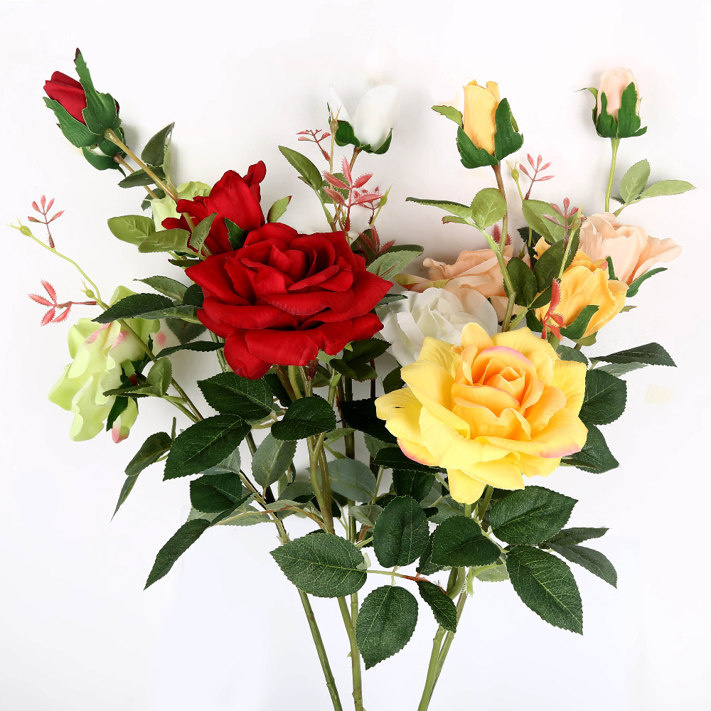 Artificial rose decrative flower home decor 5 colors roses for Artificial flowers decoration home