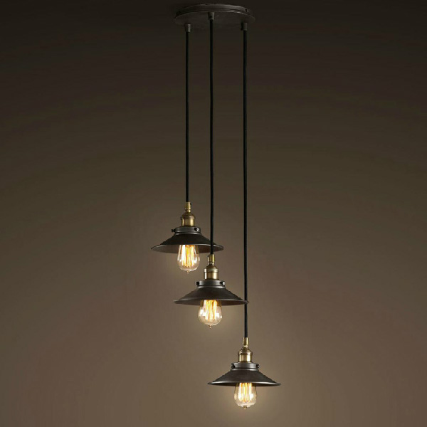 New Rustic Vintage Loft American Black Metal Shade Ceiling Light Lamp Fixture for Dining Room,Free Shipping,YSL1802-3S(China (Mainland))