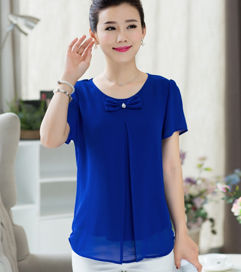 Woman summer plus size O-neck Solid Short Puff Sleeve Bow chiffon slim blouse female spring autumn hedging fold loose shirts D35(China (Mainland))