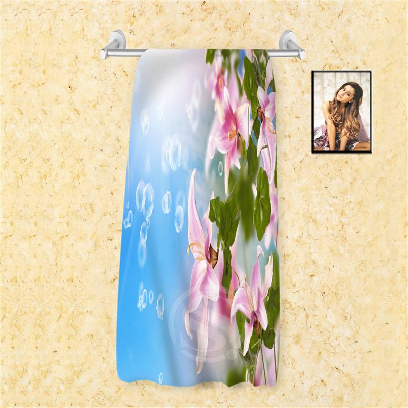 F5 Fashion Custom colorful orchid flowers rose Towel Microfiber Fabric Reactive PrintingWomen men Bath Towel 66X135cm 7.4=5(China (Mainland))