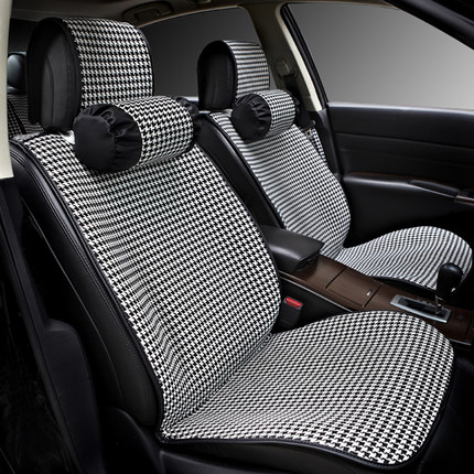 2016 new arrivals personality black houndstooth fabric car seat covers universal fit 5 seats. Black Bedroom Furniture Sets. Home Design Ideas