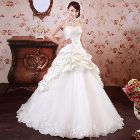 2013 New Sweet Princess Lace Floral A-Line Wedding Dress Lace up Back Wedding Gown Bride Dress