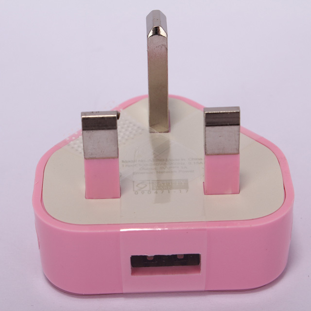 Pink UK Plug Travel United Kingdom USB AC Power Adapter wall Charger Socket iPhone 3G 3GS 4 4S 5 5S IPAD 2 3 - Jinzhiku store