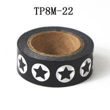 1 rollo de cinta Washi cinta de papel cinta adhesiva diseños de cinta adhesiva DIY álbum de recortes pegatina Negro Blanco, 15mm * 8 m(China)