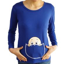 New maternity tops long sleeve baby peeking shirts  maternity T shirts baby peeking peek a boo shirt funny maternity clothes(China (Mainland))