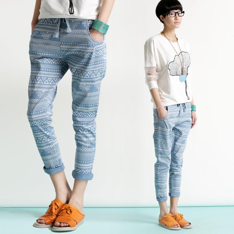 spring fall women casual hip hop harem pants Slim printed ...