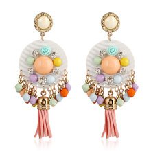 Zinc Alloy Round Promotion Top Fashion Ethnic Oorbellen Orecchini Brincos Long Tassel Style Earrings Handmade Beaded 158511 (China (Mainland))