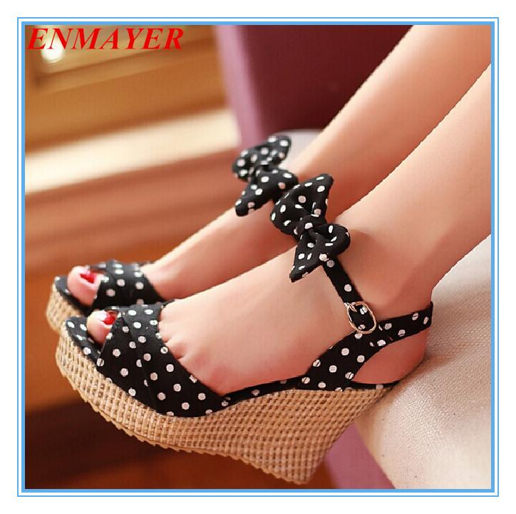 Airfour Summer Bohemian Polka Dot Sweet new fashion women Sandals shoes women platform Sandals wedges 10cm High Sandals(China (Mainland))