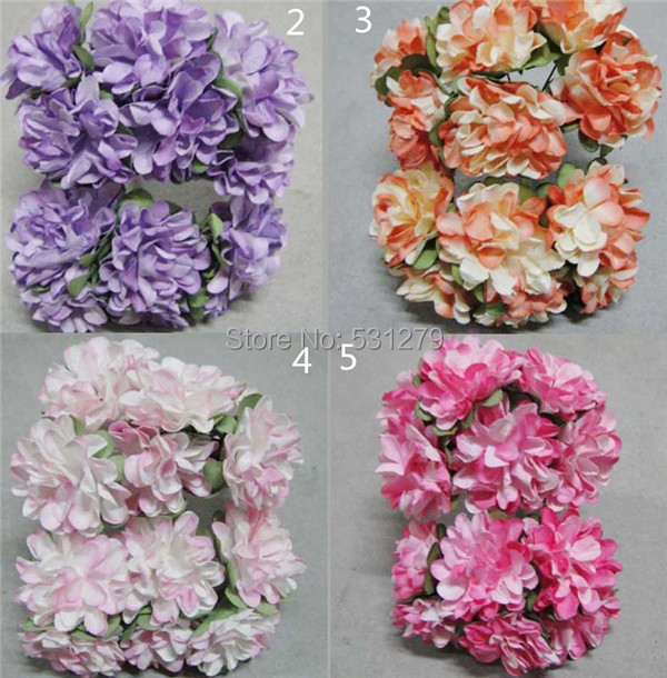 288pcs/lot New arrived fake Mulberry Paper Flower 3.5cm two-tone artificial carnation flowers birthday cake decorations(China (Mainland))