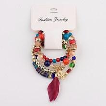Tophanqi boho étnico colorido cristal pedra contas pulseira conjunto encantos jóias mão & pena pingente pulseiras para mulher 4 pçs/set(China)