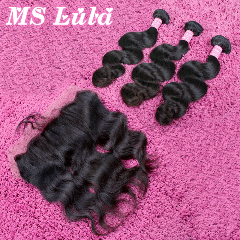Free Shipping human hair 13x4 lace frontal closure with bundles Peruvian virgin hair body wave 3 bundles ms lula hair <br><br>Aliexpress