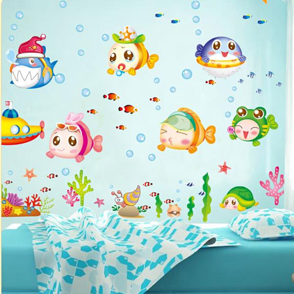 buy 1 set cartoon fish waterproof. Black Bedroom Furniture Sets. Home Design Ideas