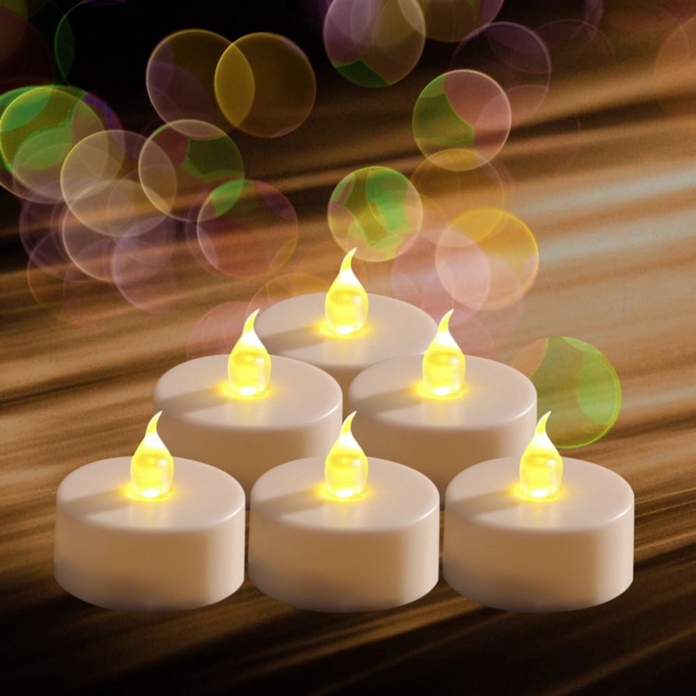 12 pcs LED Tealight Battery Operated Flickering Flicker Flameless Tea Candles Light for Wedding Birthday Party Christmas Home(China (Mainland))