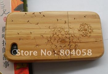 Free shipping wholesale  100%New Real Natural Bamboo Wood Wooden Hard Case Cover For iPhone 4 4S dandelion