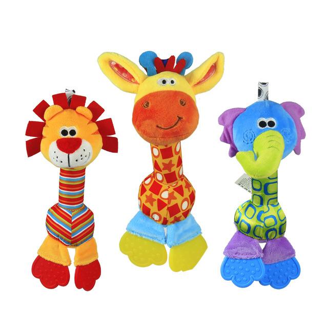 1 шт. мягкие детские игрушки 22 см мультфильм животных прорезыватель погремушка пищалка BB эхолот раннего образования brinquedos juguetes