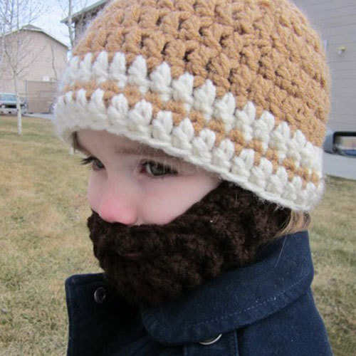 Knitting Pattern For Baby Hat With Beard : New Baby Beard Hat,Hand Knitted Crochet Newborn khaki ...
