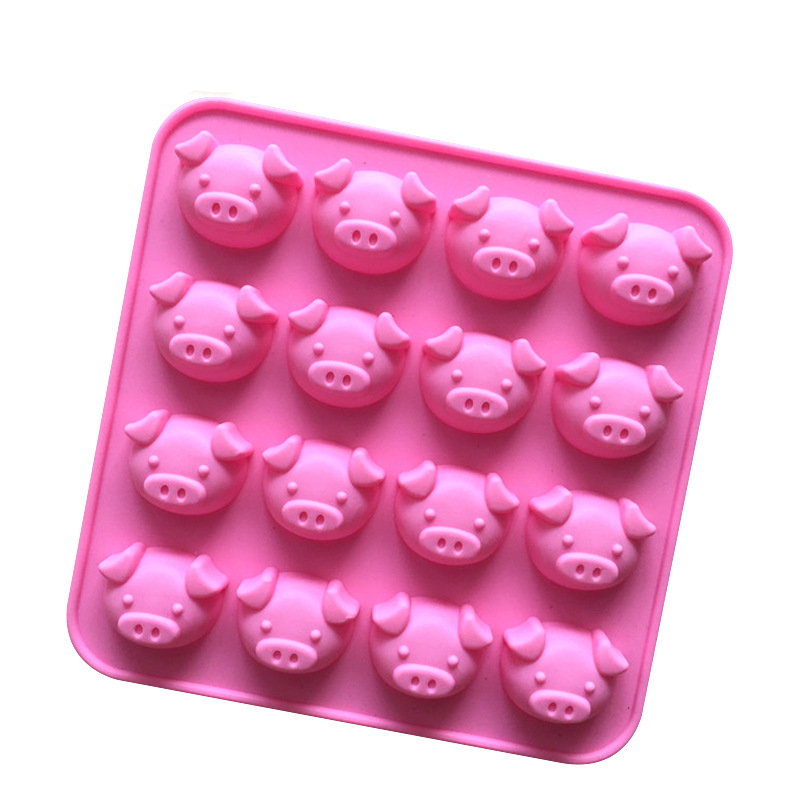 The New Pig Silicone Cake Mold 16 Even Cartoon Faces Dude Diy Chocolate Mold 1pc D568(China (Mainland))